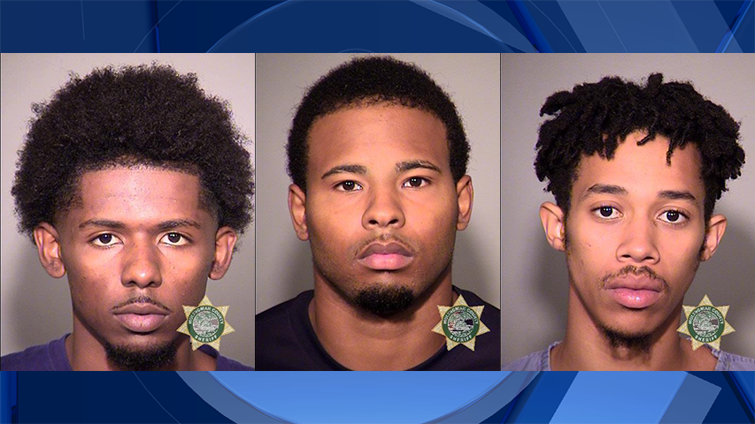 Harold D. Edwards III, Keyshawn D. Thomas, and Fran T. Hernandez-Fowlkes, jail booking photo (Multnomah County Jail)