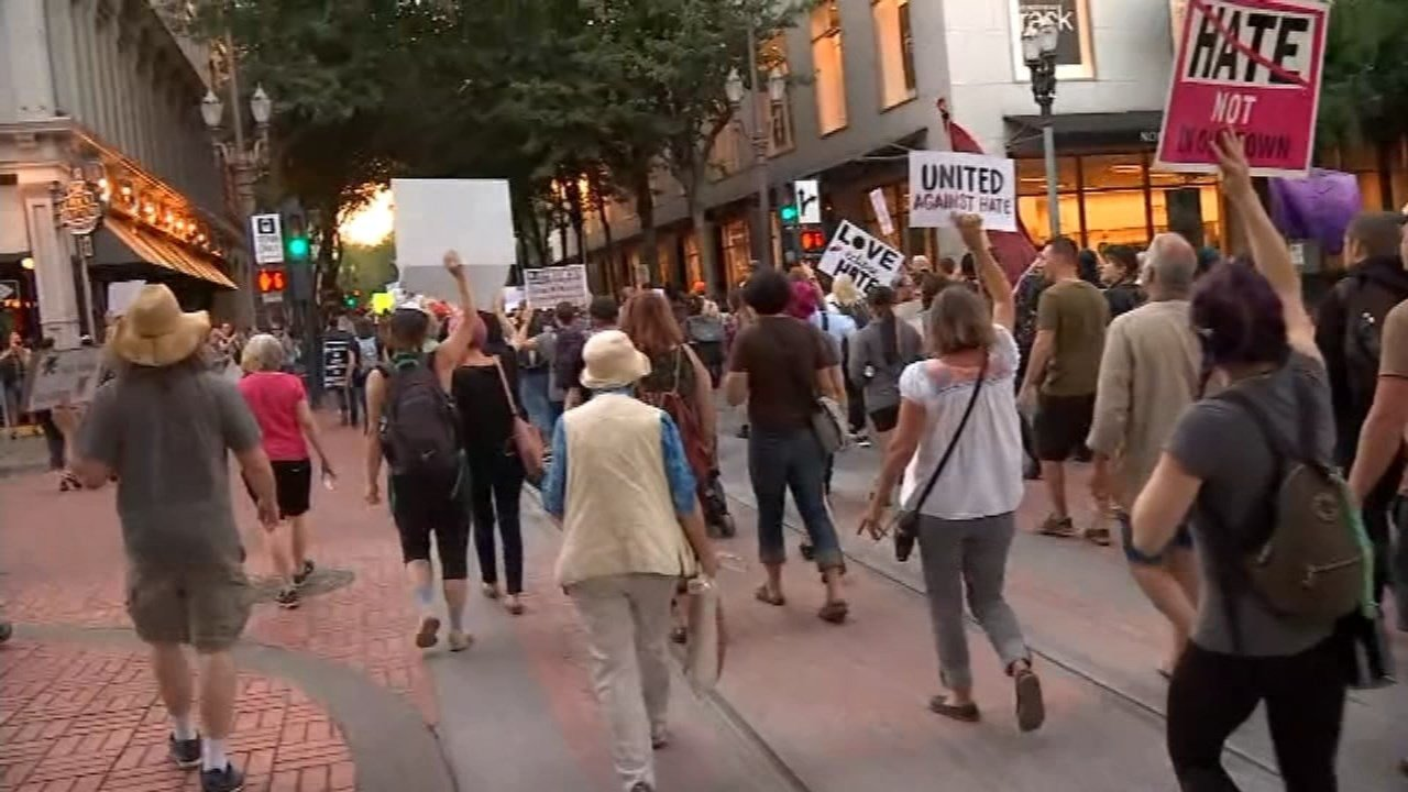 Rally in downtown Portland in August. (KPTV)