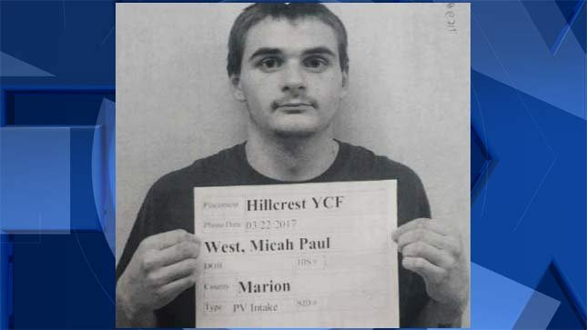 Micah West (Oregon Youth Authority booking photo)