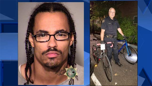 Derek B. Conley, jail booking photo, and a Portland Police Bureau officer with recovered bicycles. (Portland Police Bureau/KPTV)