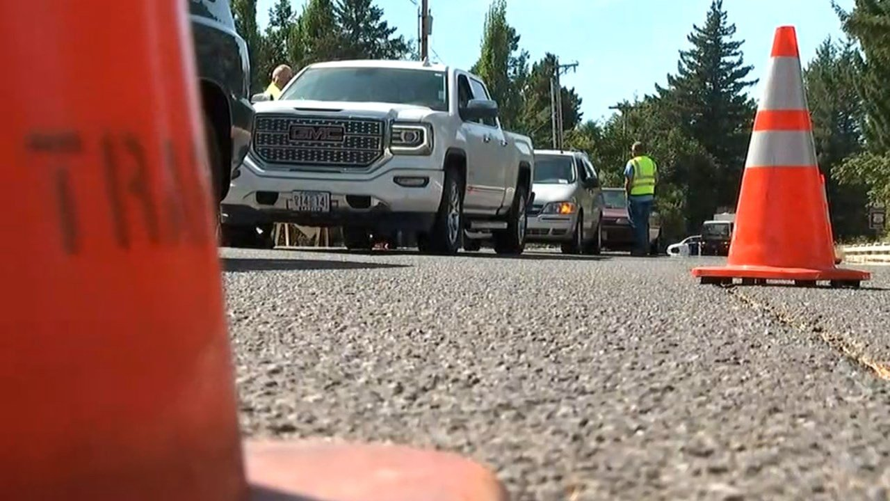 Evacuees returning home Wednesday after being displaced by the Eagle Creek Fire had to stop at roadblocks and provide IDs and proof of their addresses. (KPTV)