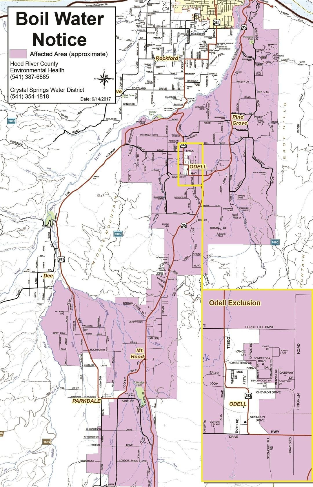 Boil water advisory map for Crystal Springs Water District (Image: Hood River County Health Department)