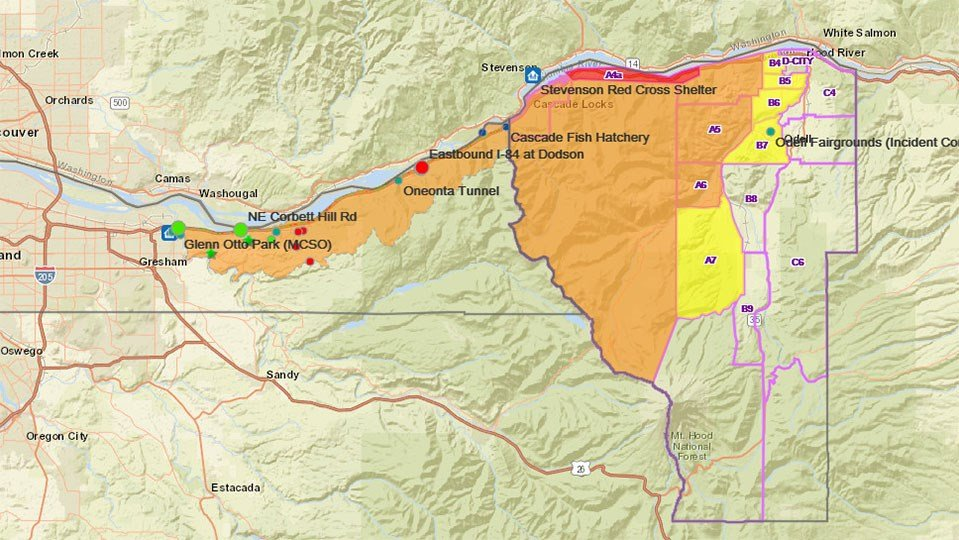 An interactive map from Multnomah County shows areas, seen here in orange, now in Level 2 evacuations. As of noon Friday, there were no areas in the county under Level 3 evacuations. (KPTV)