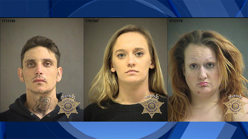 William Litton, Hailey Elden, and Kaylee Hathaway, jail booking photos. (Washington County Sheriff's Office)