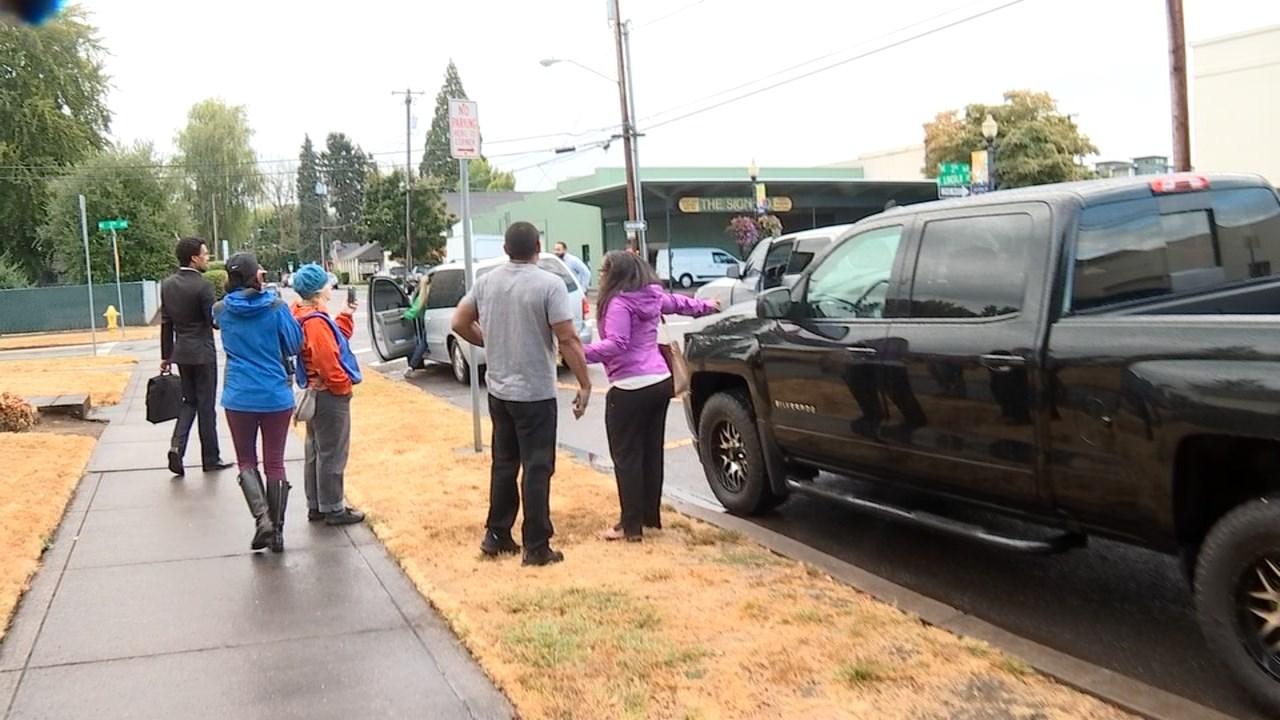 Incident outside the Washington County Courthouse on Monday. (KPTV)