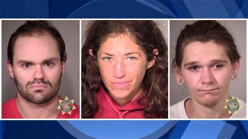 Burglary suspects: Christopher Albright, Suzanne Crosse, Adam Myers (Prior jail booking photos)