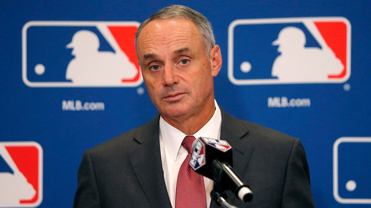Baseball Commissioner Rob Manfred listens to a question following the two-day meeting of Major League Baseball owners, Thursday, Aug. 17, 2017, in Chicago. (AP Photo/Charles Rex Arbogast)