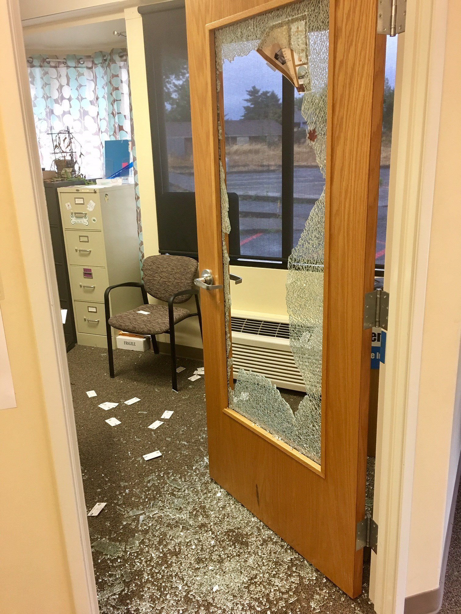 Some of the damage left behind at a Vancouver center for the deaf that was burglarized. (KPTV)