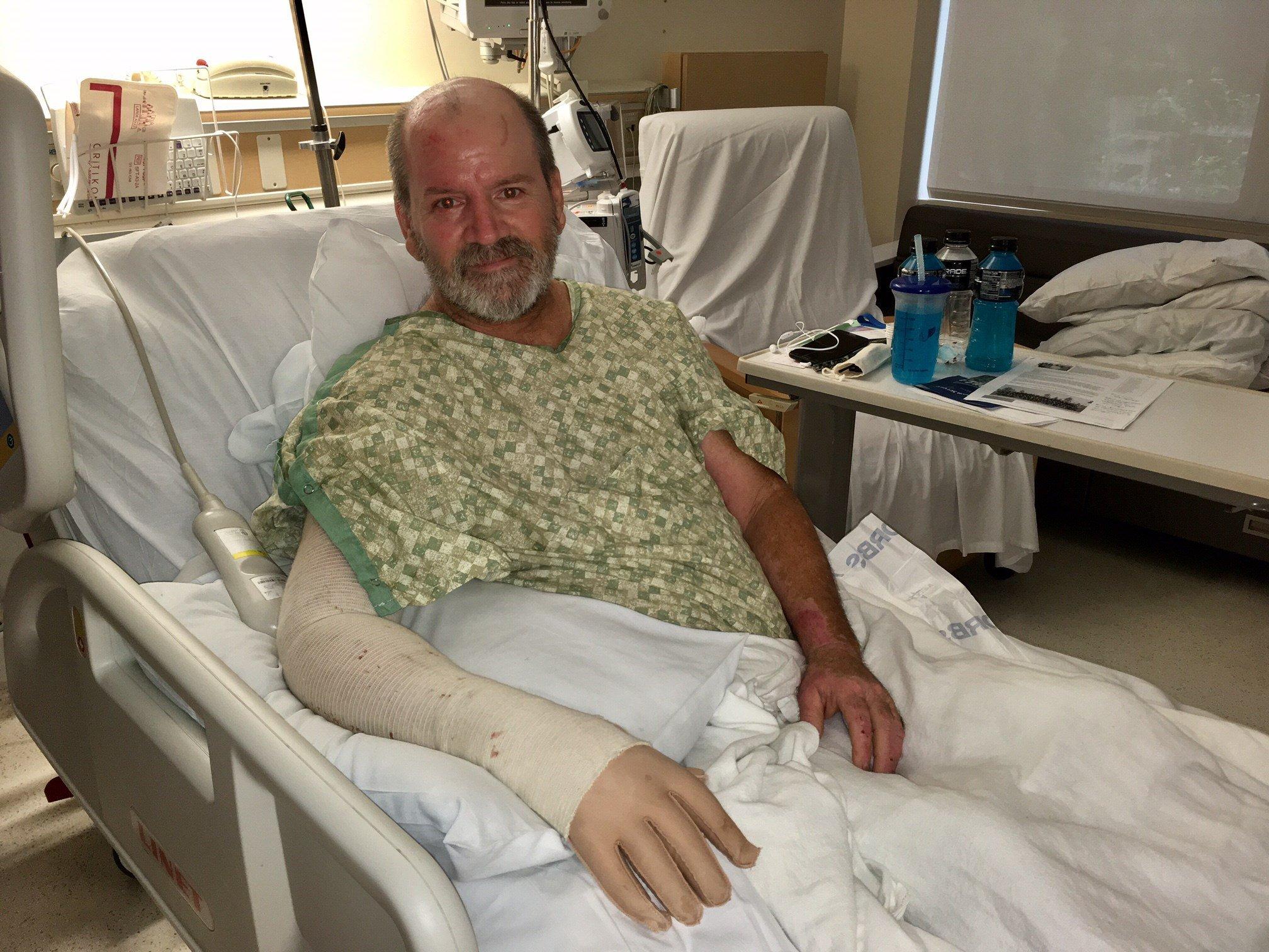TJ Shaw recovering at the Oregon Burn Center Monday. (KPTV)