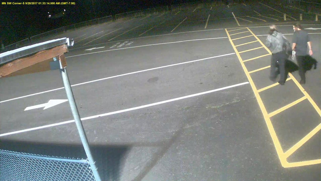 School officials shared this security footage of two possible suspects in the case of vandalism at Menlo Park Elementary School Thursday morning. (KPTV)