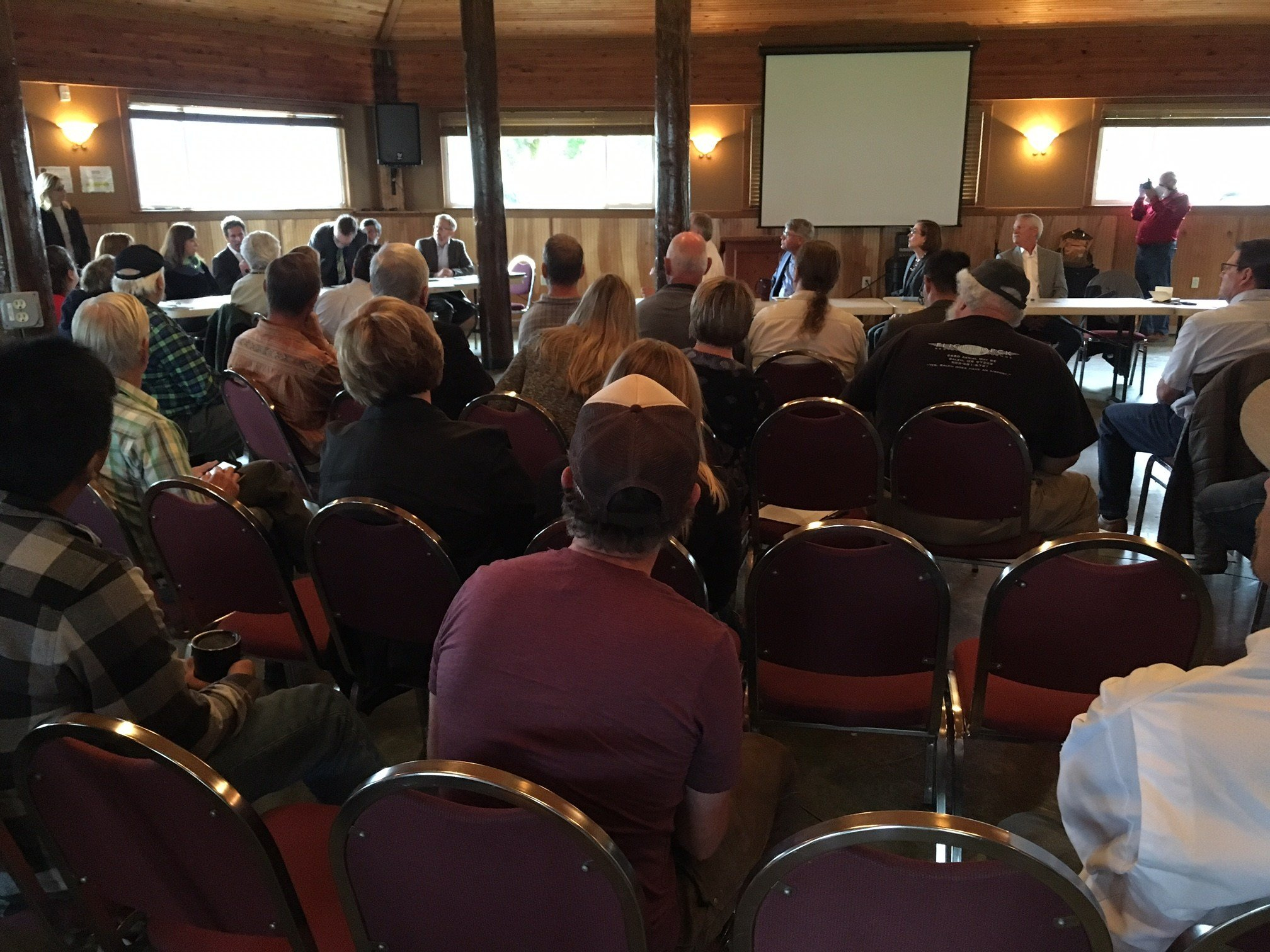 The group gathered for the listening session in Cascade Locks Friday.