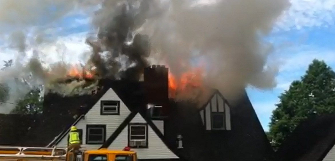 Still image taken from video sent to KPTV by fire witness.
