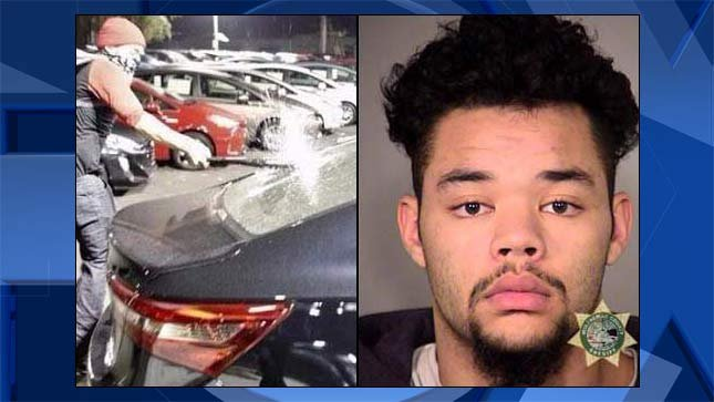On left, image released by Portland Police Bureau during riot in Portland in November 2016. Mateen Abdul Shaheed jail booking photo on right.