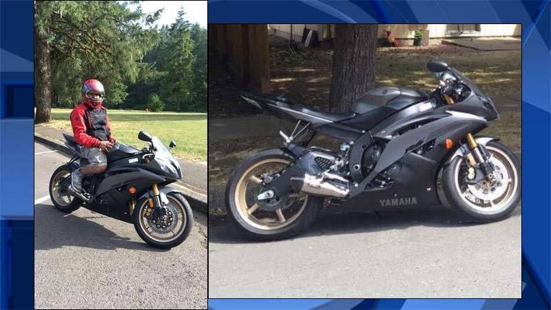 Victim on his stolen motorcycle and riding gear that was also stolen. (Images: Marion County Sheriff's Office/KPTV)