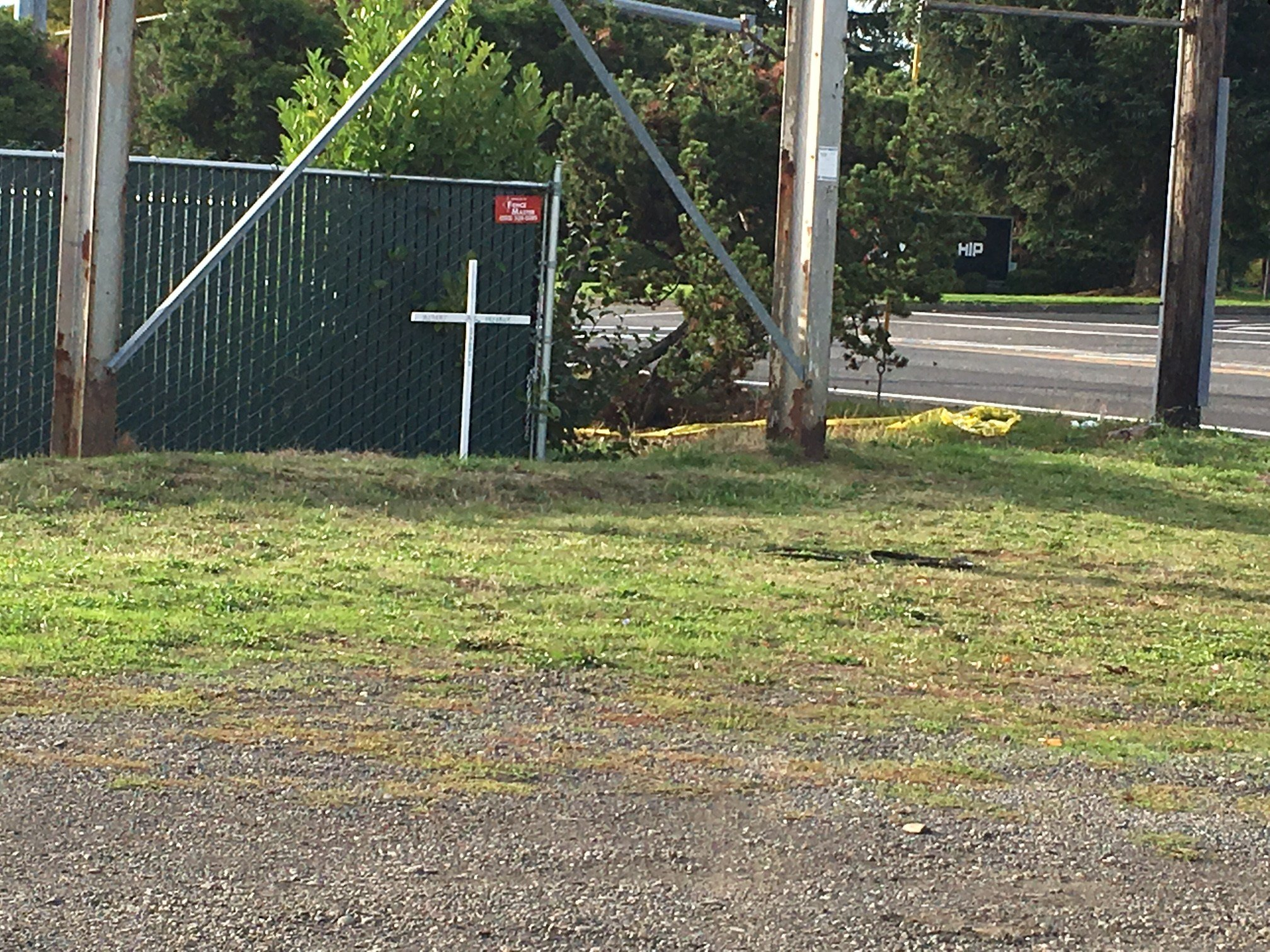 The cross put at the crash scene honoring the man who was killed in Gresham (KPTV)