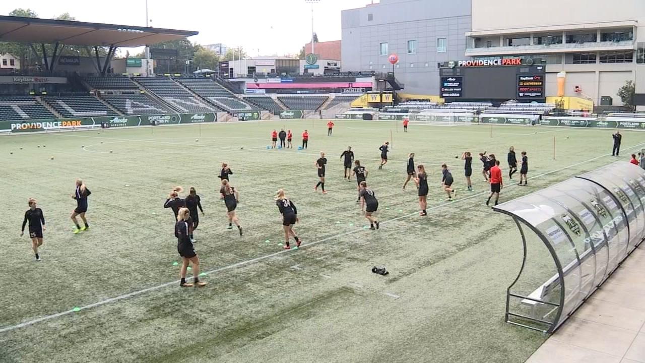 Portland Thorns players training at Providence Park on Tuesday. (KPTV)