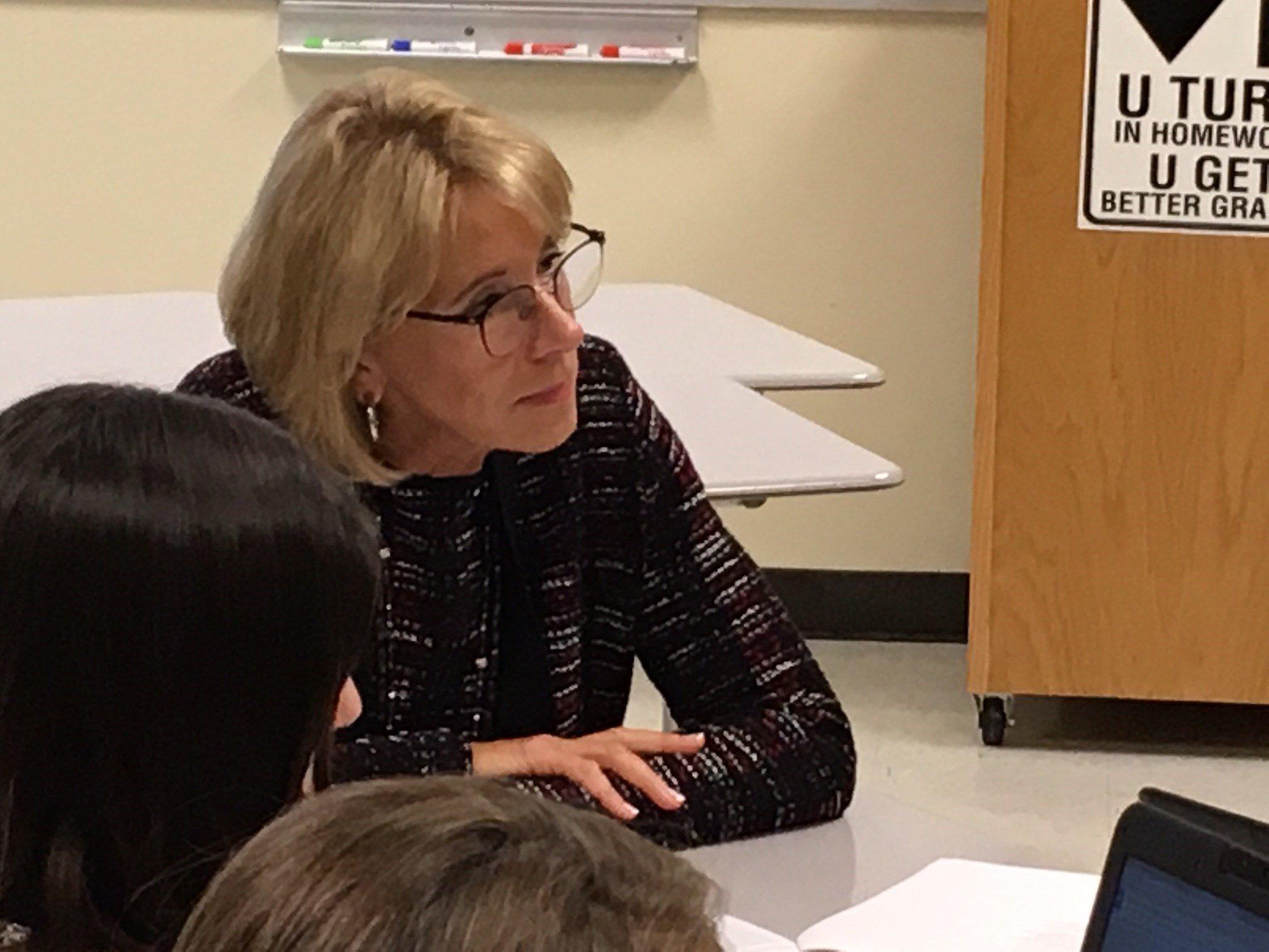 U.S. Secretary of Education Betsy DeVos at McMinnville High School.