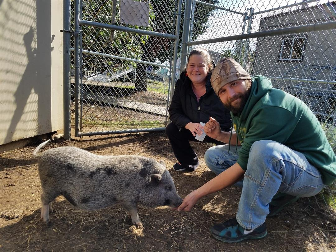 Humphrey with his new owners. Photo: MCAS