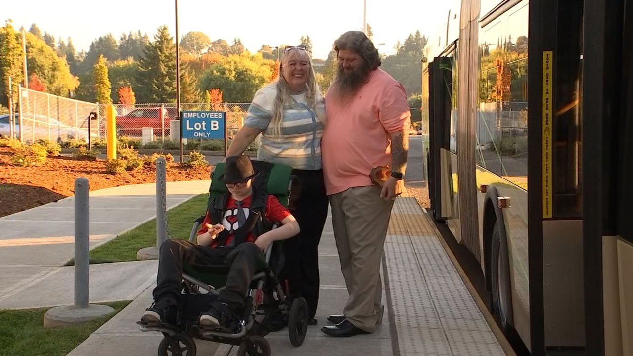 On Monday, C-Tran driver John Shreves (right) got to see 13-year-old Colby Strandridge again and meet his grandmother Dionna J'orgensen. (KPTV)