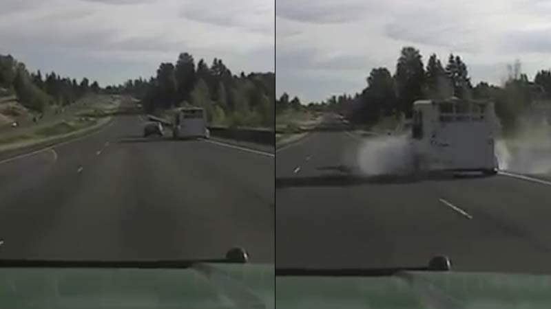 Dashcam images of near collision on I-5 during high-speed chase (Images: Cowlitz County Sheriff's Office)