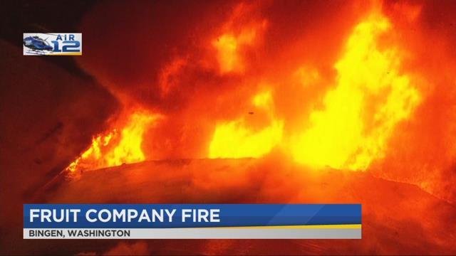 Crews battle 2-alarm fire at Bingen fruit company