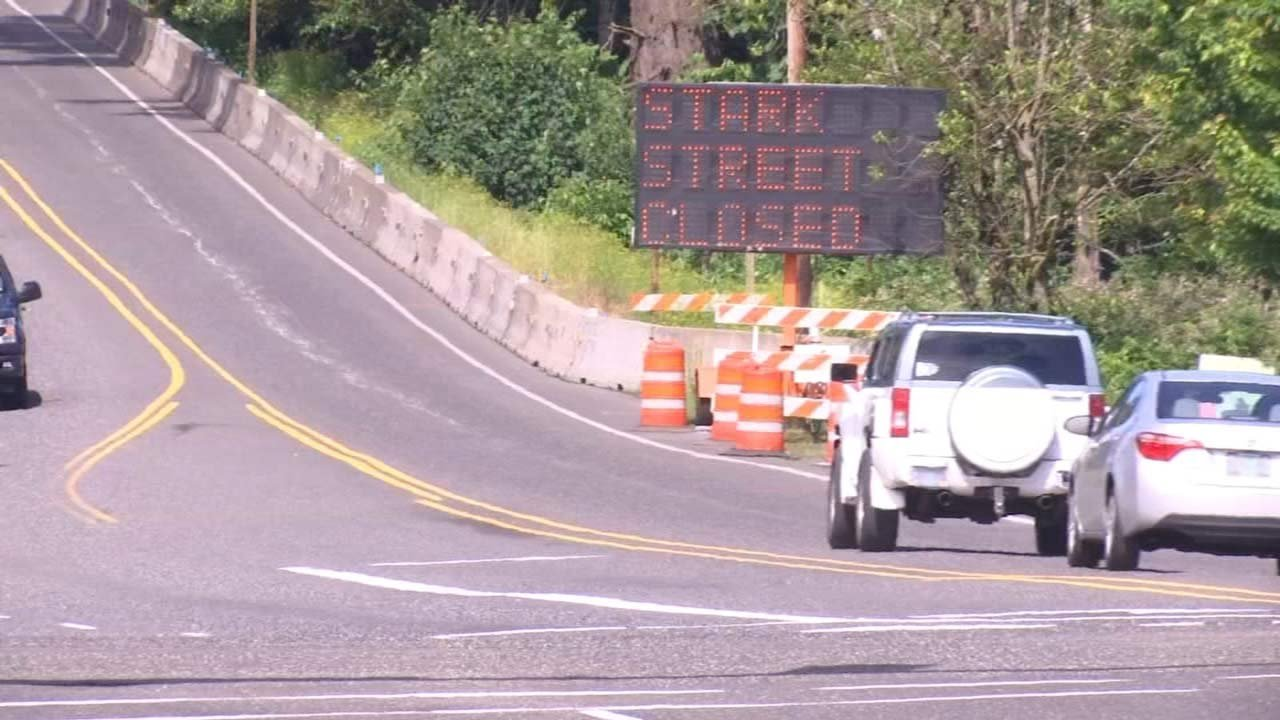 Southeast Stark Street closure in Troutdale area. (KPTV file image)