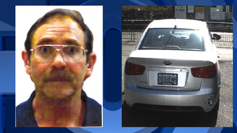 """Henry """"Hank"""" Scarborough and a photo of his vehicle, a silver 2010 Kia Forte with Oregon license 103EWH that has an Oakland Raiders sticker on the right side of the rear bumper. (Portland Police Bureau)"""