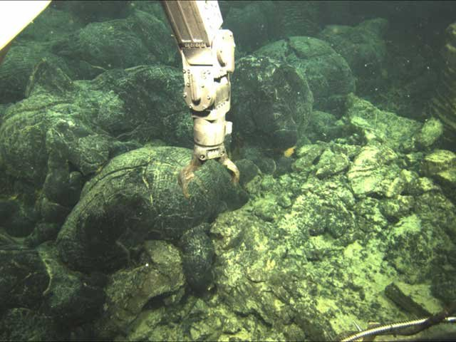 Photo courtesy of OSU | The arm of a robot prepares to sample lava from an undersea volcano eruption off the Oregon Coast.