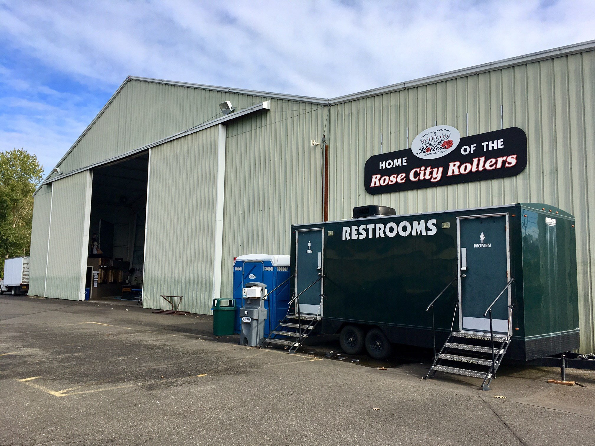 The Oaks Park hangar where the Rose City Rollers currently play.