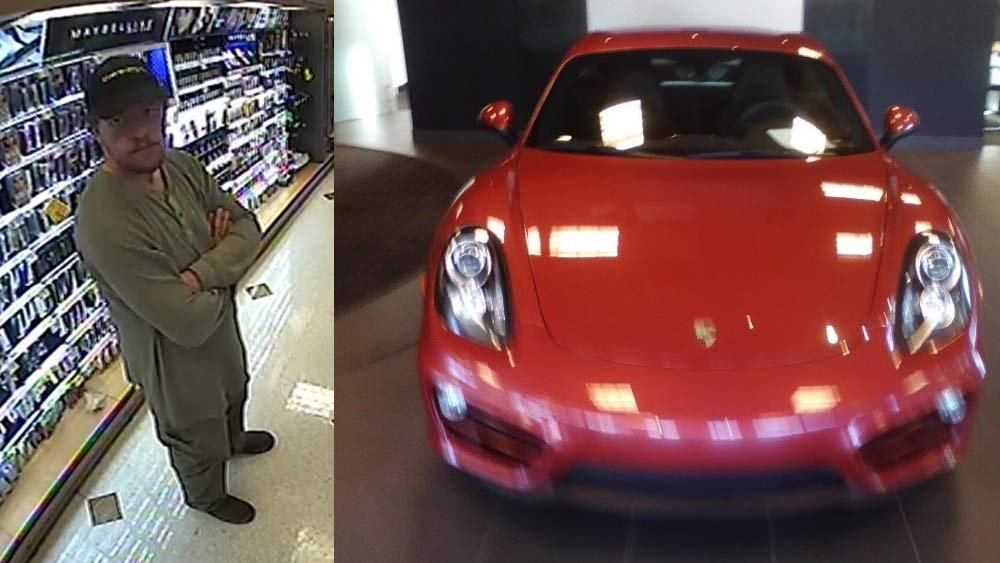 Person of interest in Sherwood burglary and 2014 Porsche Cayman stolen during burglary on Oct. 14. (Images released by Sherwood Police Department)