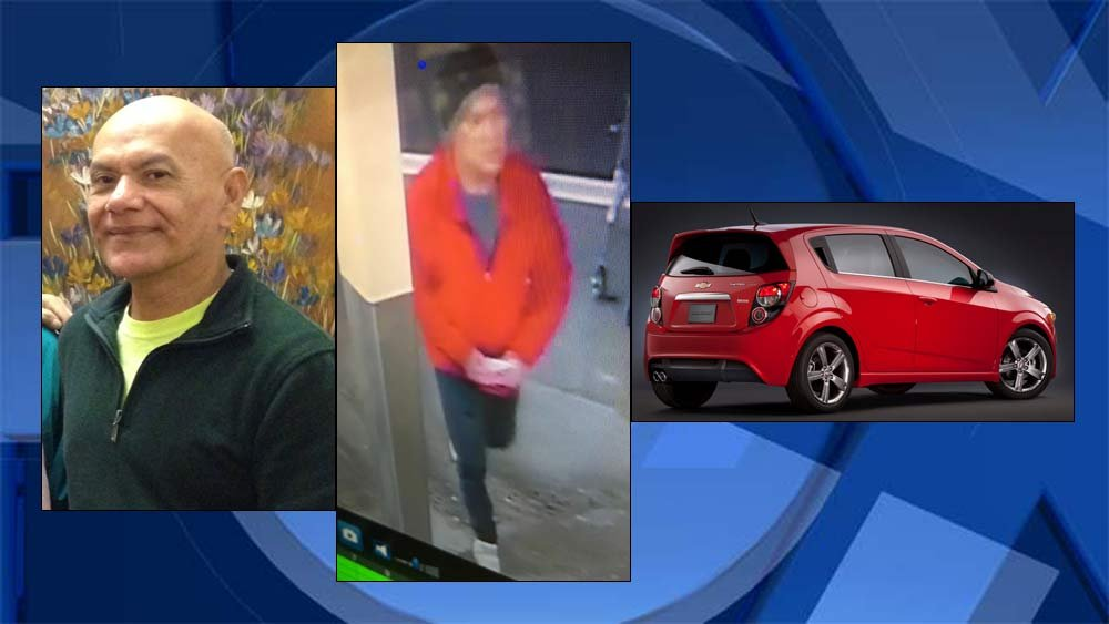 "From left: Pedro ""Pete"" Munoz Morales, a surveillance image of Morales at a Fred Meyer store in Salem and a similar Chevy Sonic that was found parked at Rite Aid in Salem. (Images: Woodburn Police Department/KPTV)"