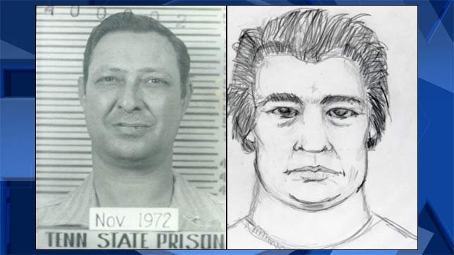 Gerald Dunalp, 1972 mugshot, and a sketch of the suspect sought in the killing of Janie Landers. (Photos released by Marion County District Attorney's Office)