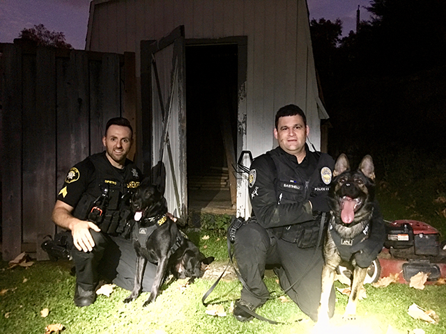 K9's Tux and Rizzo with their handlers (Courtesy: Washington County Sheriff's Office)