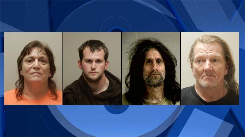 Laurie Lynn Bouse, John Cleghorn, Jeffery Emil Drabandt, Danny Marshall Hampton (Jail booking photos)
