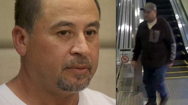Manuel Banuelos-Alcala in court in May and a surveillance photo released by the Portland Police Bureau (KPTV)