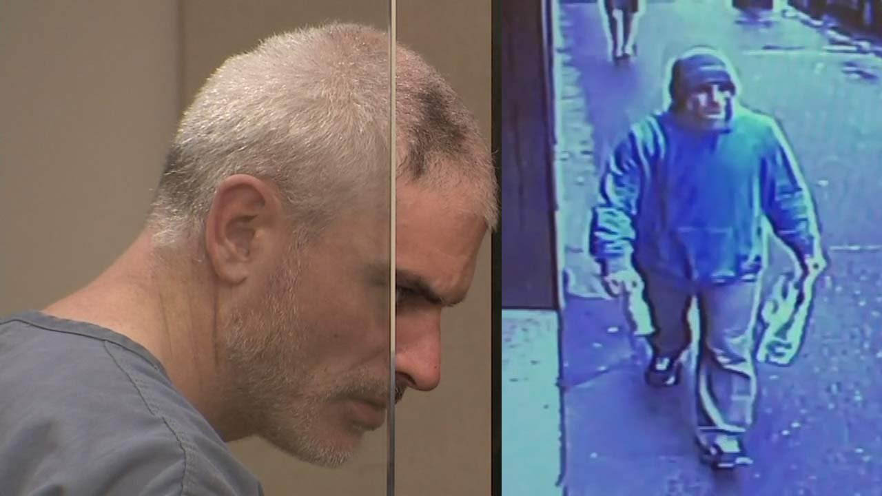 Jeffrey Lane in court and an image from surveillance video of an elevator attack suspect in downtown Portland released by police. (KPTV)