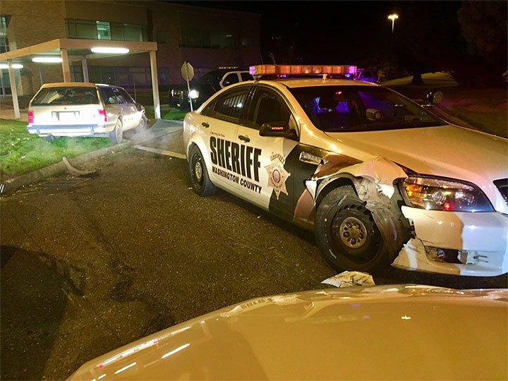 Deputies said Crystal elliot rmmed three patrol vehicles after a pursuit ended on a dead end street in Forest grove early Tuesday morning. (Washington County Sheriff's Office)