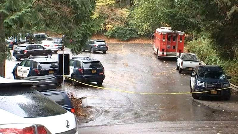 Scene where bodies were found near Pittock Mansion in northwest Portland on Wednesday. (KPTV)