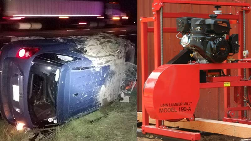 Vehicle damaged on I-5 near Woodburn and a photo of a similar saw as one that fell from a trail on I-5 (Photos: Oregon State Police)