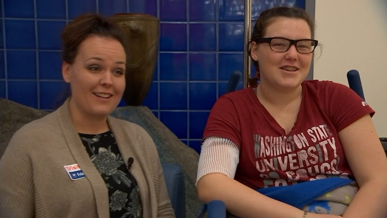 Miranda Neumann and her 14-year-old daughter Elianna, who has battled viral meningitis five times since the age of 10 (KPTV)