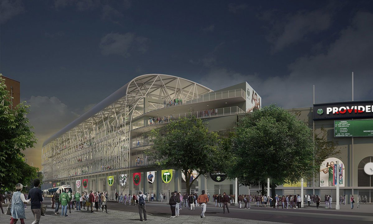 Rendering of the planned exterior of Providence Park following an $55M expansion plan by the Portland Timbers. (courtesy Portland Timbers)
