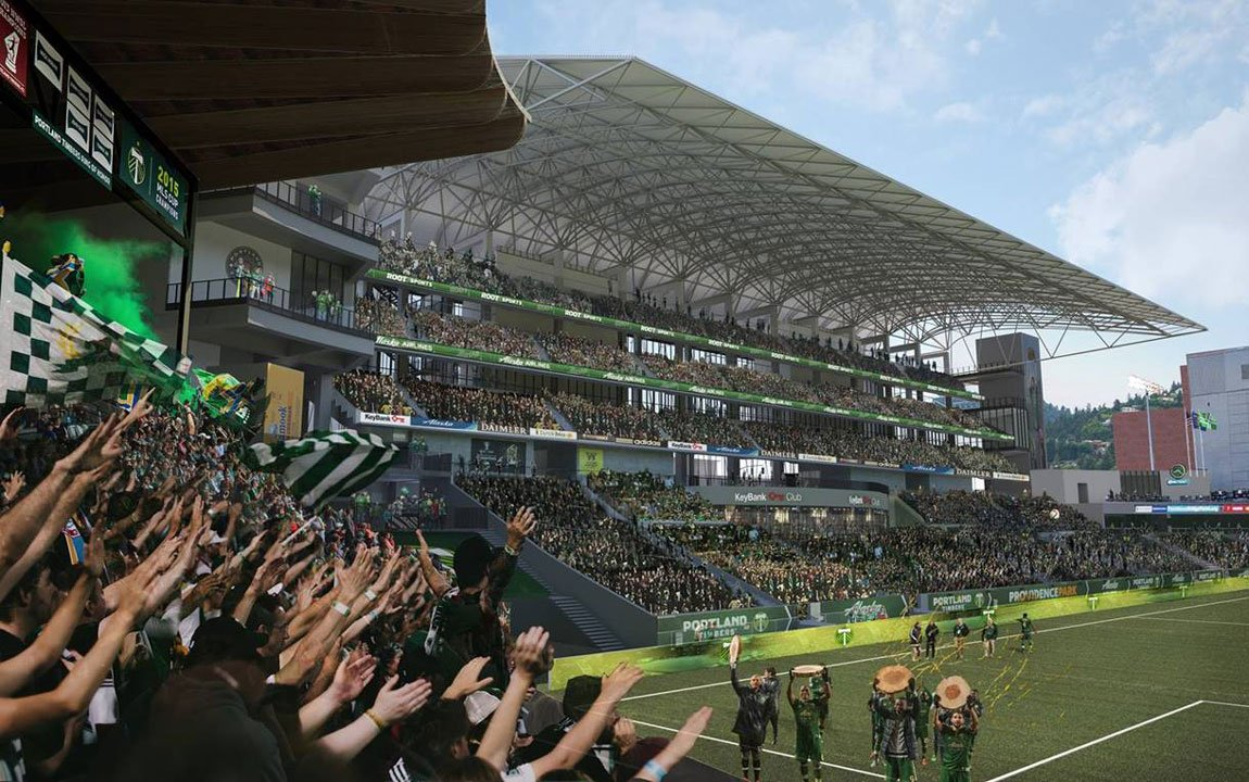 Rendering of the planned interior of Providence Park following an $55M expansion plan by the Portland Timbers. (courtesy Portland Timbers)