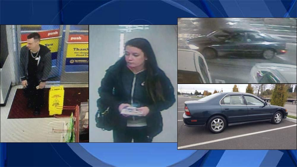 Surveillance images of Oregon City theft  suspects, along with car stolen from hospital in Oregon City and a similar 1995 Honda Accord (Images: Oregon City Police Department)