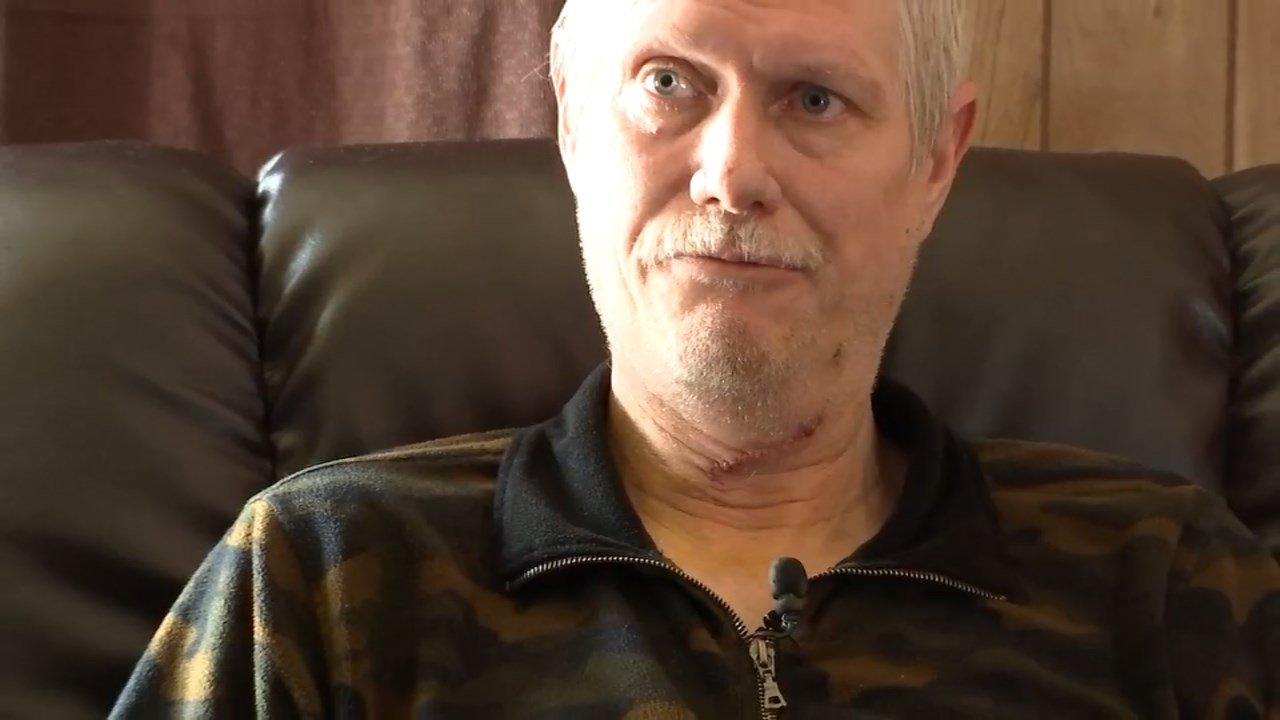 Clint Lawson was stabbed in the neck while driving a Greyhound bus near Troutdale last week. (KPTV)