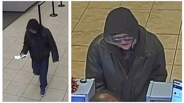 """Surveillance images of wanted Portland bank robbery suspect """"The Palpetine Bandit"""" (Images: Portland Police Bureau)"""