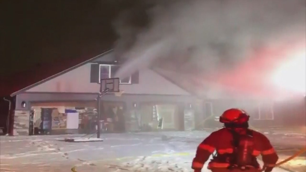 The Holmgren's home on fire Sunday, courtesy of Jamon Holmgren.