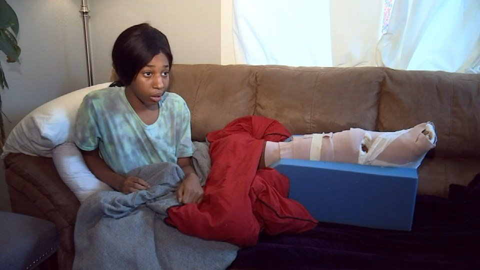 Sandrisha Wesley, 17, said injuries from a shooting in early December will keep her from using her left leg for a year. (KPTV)