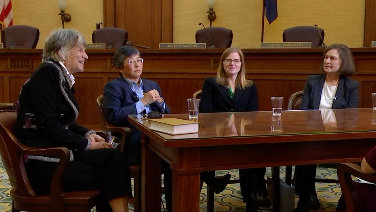 Justice Martha Lee Walters, Justice Lynn Nakamoto, Justice Rebecca Duncan and Justice Meagan Aileen Flynn will soon be joined on the Oregon Supreme Court by Judge Adrienne Nelson. (KPTV)