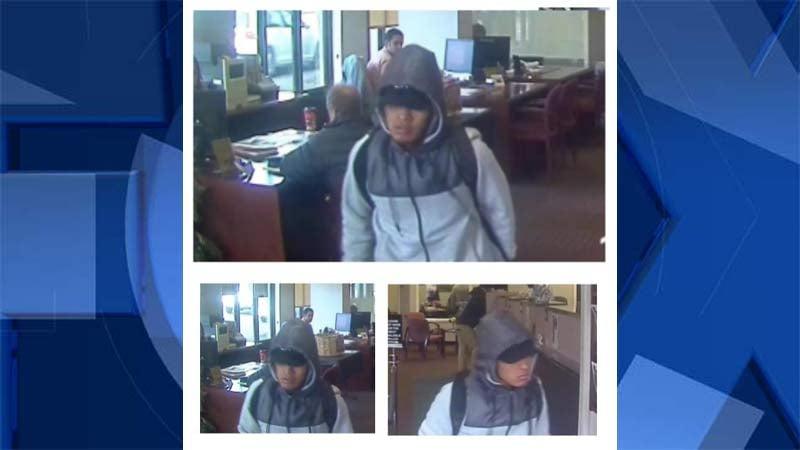 Surveillance images of Albina Community Bank robbery suspect. (Portland Police Bureau/Crime Stoppers of Oregon)
