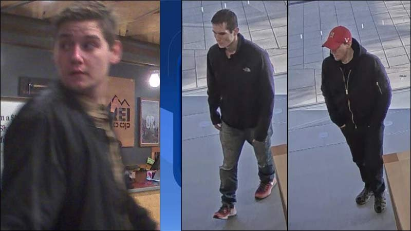 Shoplifting suspect from Dec. 29 on left. On right, two suspects sought for stealing from a Tualatin business on Jan. 1. (Tualatin Police Department)